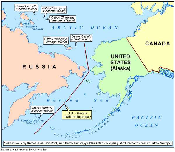 Map depicting the U.S.-Russia maritime boundary, with notation that 'Names are not necessarily authoritative'. Island groups shown and labeled in the Bering Sea/Arctic Ocean area are New Siberian Islands, Komandorskiye Ostrova, and Aleutian Islands. Individual Islands shown and labeled are Ostrov Bennetta (Bennett Island), Ostrov Genriyetty (Henrietta Island), Ostrov Zhannetty (Jeannette Island), Ostrov Vrangelya (Wrangel Island), Ostrov Geral'd (Herald Island), and Ostrov Mednyy (Copper Island) with asterisked notation reading 'Kekur Sevuchiy Kamen (Sea Lion Rock) and Kamni Bobrovyye (Sea Otter Rocks) lie just off the north coast of Ostrov Mednyy.' May 20, 2003.