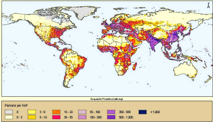 Figure 4.1:  Global Population Density Projected for 2015  [State Dept. Image]