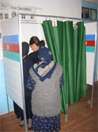 A family votes in the Azerbaijan presidential election. State Dept. Photo.
