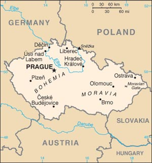 Date: 03/10/2014 Description: Map of Czechia. © CIA World Factbook