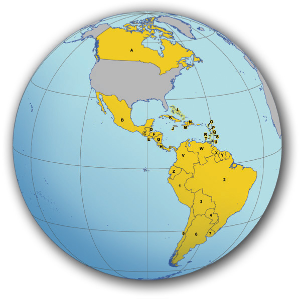 Map showing countries belonging to the Western Hemisphere region.