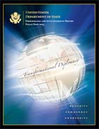 Cover of United States Department of State Performance and Accountability Report, Fiscal Year 2005, with globe inscribed with phrase Transformational Diplomacy, and reading Security, Democracy, Prosperity.