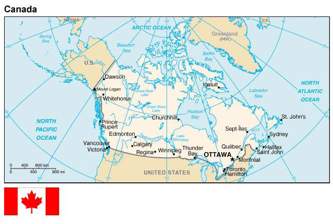 Canada Map Of States.Map And Flag Of Canada