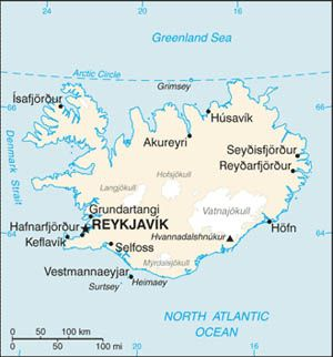 Date: 05/14/2009 Description: Map of Iceland from 2009 CIA World Factbook. © CIA World Factbook