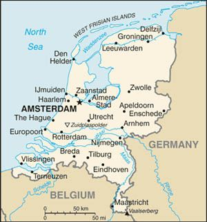 Date: 09/29/2009 Description: Map of the Netherlands. © CIA World Factbook