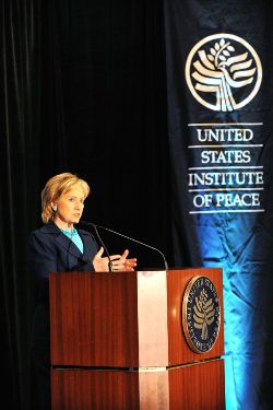 Date: 10/21/2009 Description: Remarks by Secretary Clinton at the United States Institute of Peace held at the Renaissance Mayflower Hotel in Washington, DC.  © State Dept Image