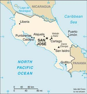 Date: 02/18/2010 Description: Map of Costa Rica. © CIA World Factbook