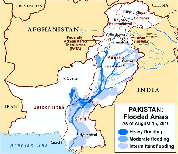 Area Maps Of Pakistan Flooding - Map of flooding in us