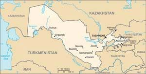 Date: 08/25/2010 Description: Map of Uzbekistan. CIA World Factbook