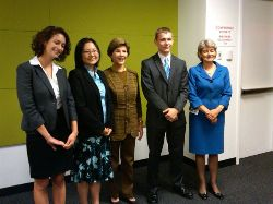 Date: 09/08/2010 Location: New York City Description: Fall/Winter 2010 UNESCO-Laura W. Bush Traveling Fellowship Recipients met with Mrs. Bush and UNESCO Director-General Irina Bokova on September 8, 2010 during events celebrating International Literacy Day at the United Nations in New York.  Pictured from left to right are Melina Schoppa, Donglin ''Lynn'' Yi, Mrs. Laura W. Bush, Colton Kennedy, and Director-General Bokova. © UN Image