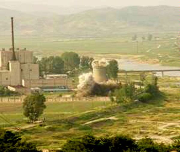 The June 27, 2008 elimination of a cooling tower at North Korea's Yongbyon complex.