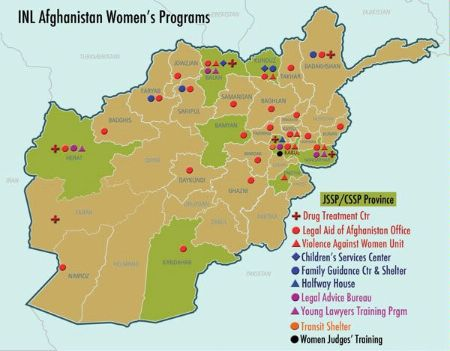 Date: 2011 Description: Map shows INL Afghanistan Women's Programs: Drug Treatment Center; Legal Aid of Afghanistan Office; Violence Against Women Unit; Children's Services Center; Family Guidance Center & Shelter; Halfway House; Legal Advice Bureau; Young Lawyers Training Program; Transit Shelter; Women Judges' Training. - State Dept Image