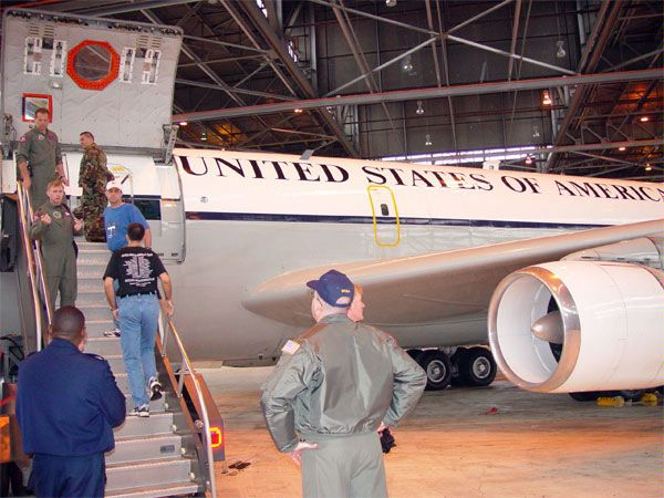 A U.S. plane being prepared for flights under the Open Skies Treaty, 6 May 2002. The Treaty establishes a regime of unarmed aerial observation flights.