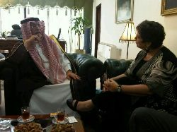 Date: 06/08/2011 Description: Meeting with Saudi Minister of Culture and Information H. E. Dr. Abdelaziz bin Mulhayadin Khuja, who said ''it's a noble job to fight hatred,'' in Jeddah, Saudi Arabia. - State Dept Image