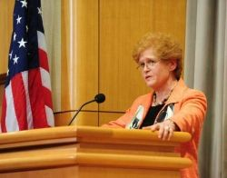 Date: 04/11/2011 Description: Deborah Lipstadt, Dorot Professor of Modern Jewish History and Holocaust Studies at Emory University, speaking about the historic trial of Adolf Eichmann on the 50th anniversary of the start of the trial, at the Department of State on April 11, 2011 - State Dept Image