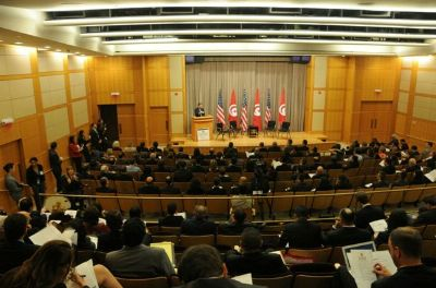 The Tunisia Partnerships Forum was held in the Department of State's George C. Marshall Conference Center.