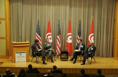 Left to right: Assistant Secretary Jose Fernandez, moderator Geoff Dyer of the Financial Times, His Excellency Mohamad Salah Tekaya, Tunisian Ambassador to the U.S. and Noureddine Zekri, Director General of the Foreign Investment Promotion Agency, discuss opportunities for growth and partnerships in Tunisia.