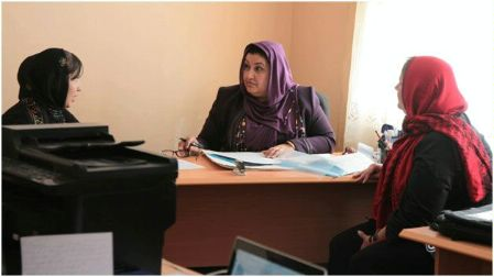 Date: 2011 Description: Women discuss a case with the head prosecutor at the VAW Unit in Balkh province. - State Dept Image