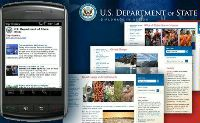 Date: 06/09/2010 Description: Image of m.state.gov on mobile device and state.gov webpages. - State Dept Image