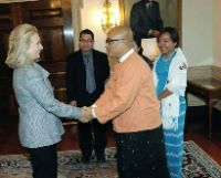 Date: 02/08/2012 Description: U.S. Secretary of State Hillary Rodham Clinton greets Burmese comedian and recently-released former political prisoner Zaganar at the State Department on February 8, 2011. - State Dept Image