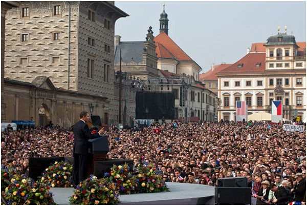 President Barack Obama delivers his first major speech stating a commitment to seek the peace and security of a world without nuclear weapons in front of thousands in Prague.