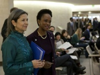 Date: 03/02/2012 Location: Geneva, Switzerland  Description: Maria Otero, U.S. Under Secretary of State for Civilian Security, Democracy, and Human Rights and Esther Brimmer, U.S. Assistant Secretary of State for International Organization Affairs at the HRC. © U.S. Mission Photo by Eric Bridiers