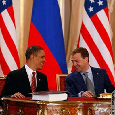 Presidents Obama and Medvedev sign the New START Treaty in Prague on April 8. The agreement limits the countries to 1,550 nuclear warheads, which is 30 percent lower than the limit of the Moscow Treaty.
