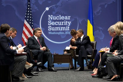 President Barack Obama participates in a bilateral meeting with President Viktor Yanukovych of Ukraine, during the Nuclear Security Summit at the Walter E. Washington Convention Center in Washington, D.C.