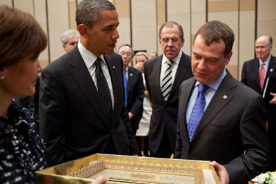 President Obama and President Dmitri Medvedev of Russia, Exchanging Gifts in Seoul.