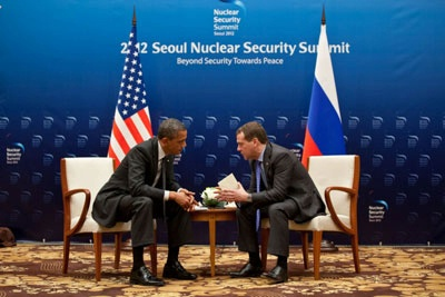 President Obama and President Dmitri Medvedev at the Nuclear Security.