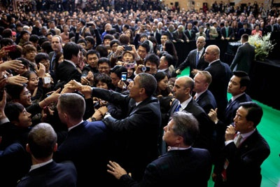 President Obama Greeting Audience at Hankuk University in Seoul.