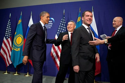 President Obama with President Nazarbayev of Kazakhstan.