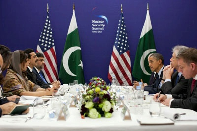 President Obama in Bilateral Talks with PM Reza Gilani of Pakistan.