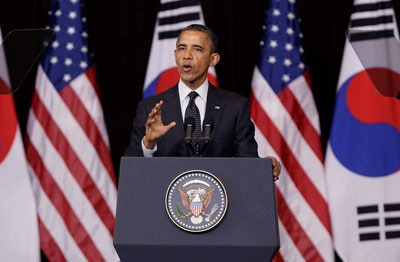 President Barack Obama gives a lecture as he attends 2012 Seoul Nuclear Security Summit at the Hankuk University of Foreign Studies on March 26, 2012 in Seoul, South Korea.