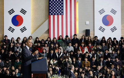 Students at Hankuk University of Foreign Studies listening to President Obama's  lecture at the margins of 2012 Seoul Nuclear Security Summit.