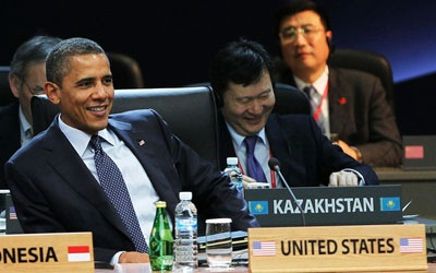 President Barack Obama during the 2012 Seoul Nuclear Security Summit on March 27, 2012 in Seoul, South Korea. World leaders have gathered at Seoul to discuss issues relating to possible nuclear terrorism and recurrence of meltdown of nuclear power plants, with a view to reducing nuclear material across the world.
