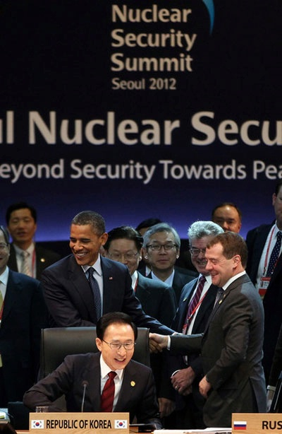 President Obama and Russian President Dmitry Medvedev shake hands prior to the 2012 Seoul Nuclear Security Summit on March 27, 2012 in Seoul, South Korea.