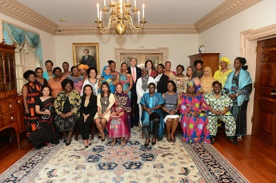 Secretary of State John Kerry meets with African Women's Entrepreneurship Program (AWEP) Delegates at the U.S. Department of State in Washington, D.C., on August 6, 2013.