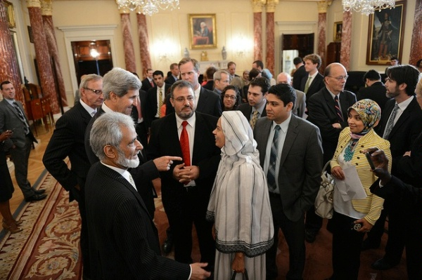 Date: 08/07/2013 Description: Secretary of State John Kerry speaks with faith-based leaders after delivering remarks at the launch of the Office for Engagement With Faith-Based Communities at the Department of State in Washington, DC, on August 7, 2013. - State Dept Image