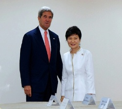 Date: 10/10/2013 Description: Secretary of State John Kerry poses with President Park Geun-hye of the Republic of Korea before a bilateral meeting on the margins of the East Asia Summit in Bandar Seri Begawan, Brunei, on October 10, 2013.  - State Dept Image