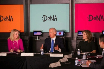 Vice President Joseph Biden, with Ambassador-at-Large for Global Women's Issues Catherine Russell and U.S. Ambassador to Japan Caroline Kennedy, participates in a round table discussion on women's role in the economy at DeNA, a Tokyo-based tech company, in Tokyo, Japan, on December 3, 2013.
