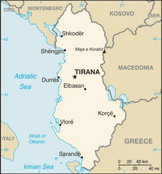 Date: 03/10/2014 Description: Map of Albania. © CIA World Factbook