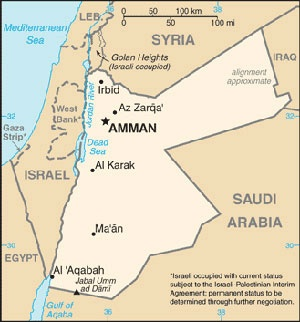 Date: 03/14/2014 Description: Map of Jordan © World Fact Book