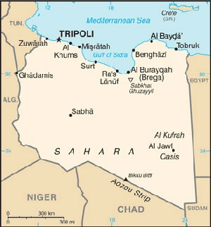 Date: 03/14/2014 Description: Map of Libya © World Fact Book