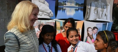 Ambassador Catherine Russell talks with young girls at the Janakpur Road Show in Nepal during her trip to India, Nepal, and Pakistan.