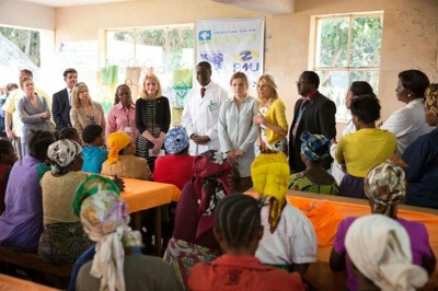 Dr. Jill Biden speaks to survivors of gender-based violence, in Bukavu, Democratic Republic of Congo, July 5, 2014. Also pictured are (from Dr. Biden's right) Dr. Denis Mukwege, Physician and Medical Director at Panzi Hospital; Cathy Russell, U.S. Ambassador-at-Large for Global Women's Issues; granddaughter Finnegan Biden, and Susan Markham from USAID.