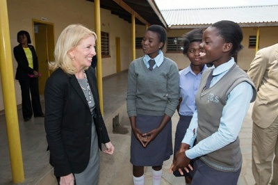 Cathy Russell, U.S. Ambassador-at-Large for Global Women's Issues talks with students at the Shalom Community School. Ambassador Russell is traveling with Second Lady Dr. Jill Biden and USAID Administrator Raj Shah on a three country trip to Africa.