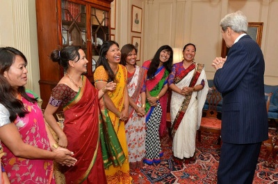 Secretary of State John Kerry chats with seven women mountain climbers from Nepal at the U.S. Department of State in Washington, DC. You can learn more about the Seven Summits Women from Nepal and their work to promote women's empowerment, education, and environmental awareness here: go.usa.gov/5rsd.