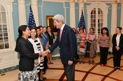 Secretary of State meets with women from the WEAmericas Entrepreneur Group at the U.S. Department of State.