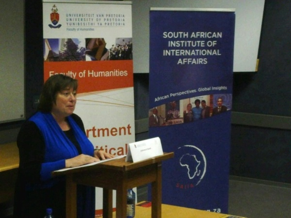 U/S Novelli talking global supply chains and open markets at the South African Institute of International Affairs, University of Pretoria, South Africa.